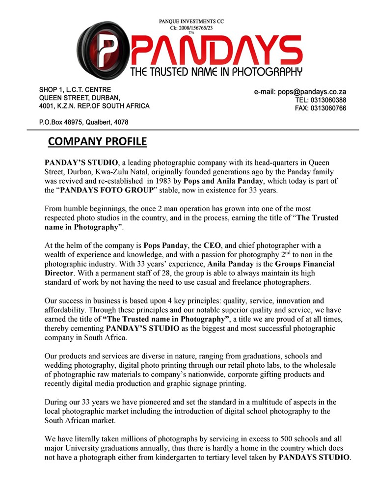 Marvelous Company Profile  Brief Company Profile Sample